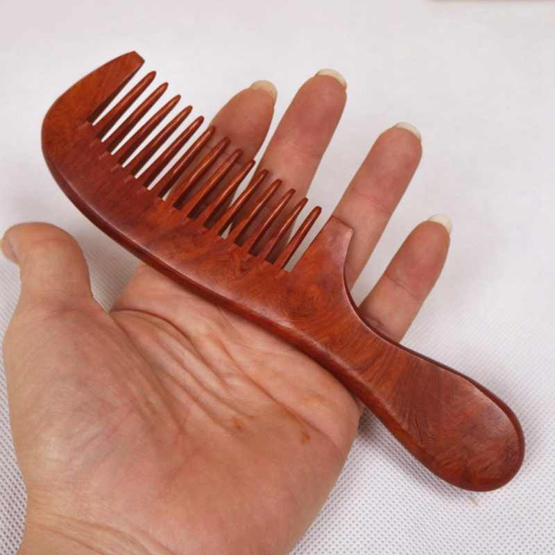 Women's Large  Wide Tooth Sandalwood Comb For Detangling Thick Curly Hair / Aromatic Smell Wooden Combs