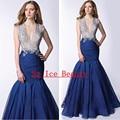 Sexy profundo decote em V azul Royal Prom vestidos sereia 2016 brilhante de cristal frisada Organza Longo Vestido de noite Formal Vestido Vestido Longo