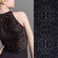 Tissu flocage en velours brûlé extensible à quatre voies tricoté pour robe de danseuse et mode féminine