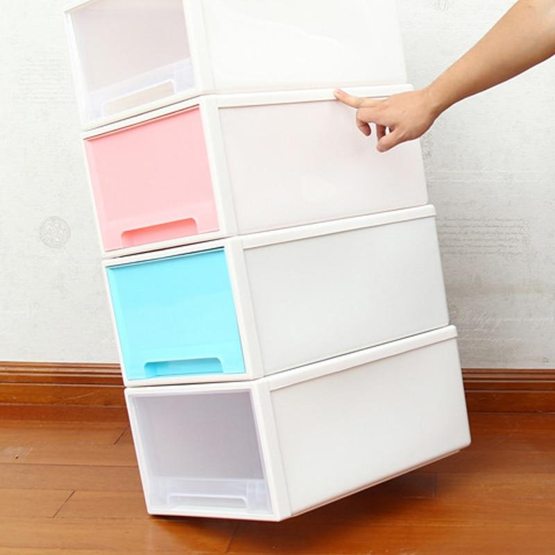 27x18x10cm Plastic Storage Box Drawer Type Underwear Bra Socks Tie Organizer Divider Boxes Closet Without Cover Storage Box