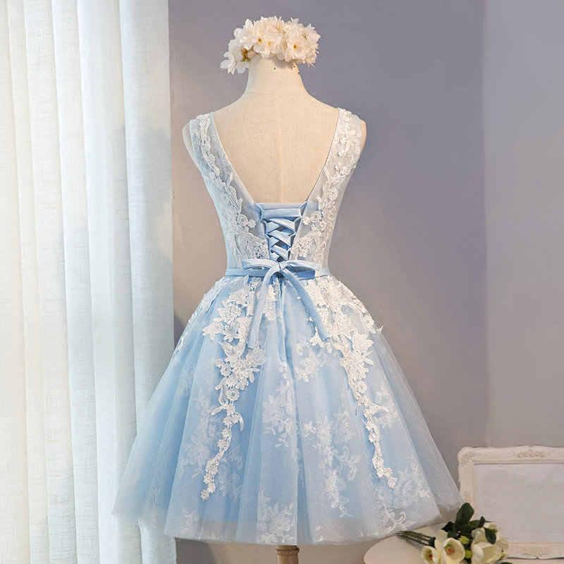 62f8af611c ... Beauty-Emily Light Sky Blue Lace Short Prom Dresses 2018 Tulle A-Line  Applkiques ...