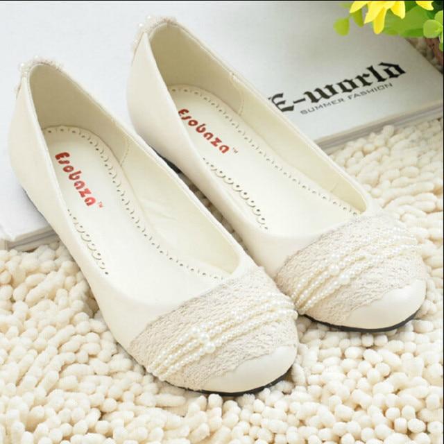women's white wedding shoes female lady flat married bridal beading lace shoes sy-474