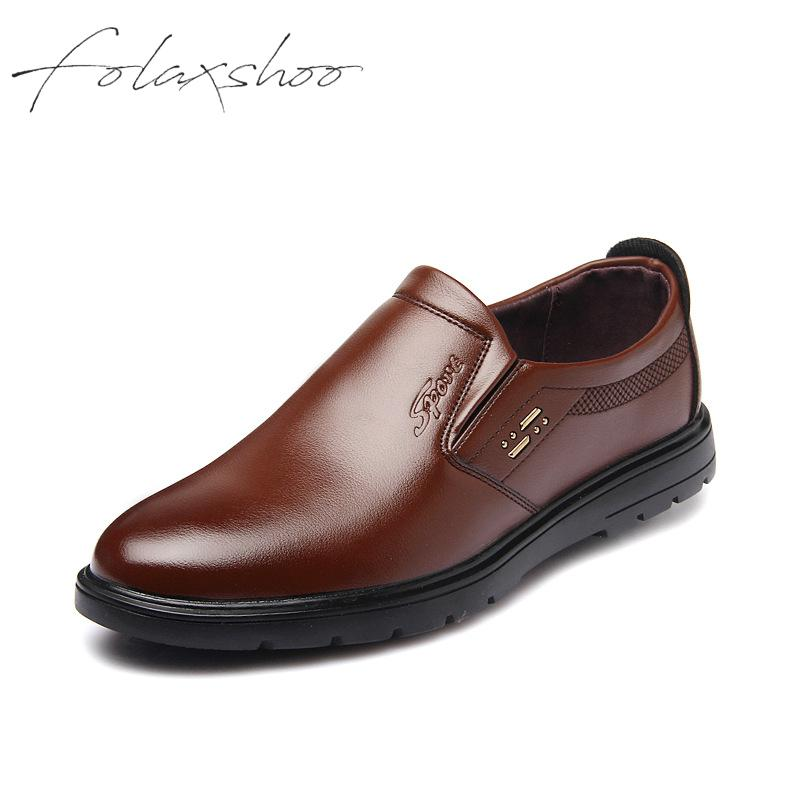 Folaxshoo Pu Rubber Spring Autumn Man Loafers   Leather   Shoes Men Schoenen Mannen Mocassin Homme Casual   Suede   Shoes Men Shoe