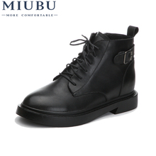 MIUBU New Fashion European Style Black Ankle Boots Flats Round Toe Back Zip Martin Genuine Leather Woman Pump Shoes