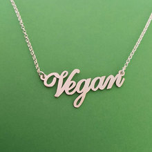 2018 Fashion Gold Tone Letters Vegan Pendant Necklace Choker Vegetarian People Symbol Lifes