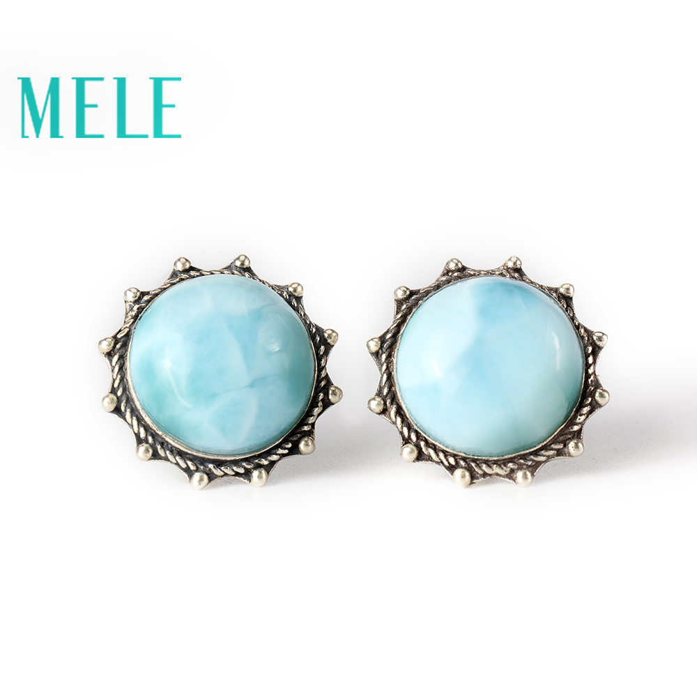 Natural Larimar 925 silver gemstone earrings for women,round flower shape, sun fashion and trendy chic ellipse shape faux gem flower earrings for women
