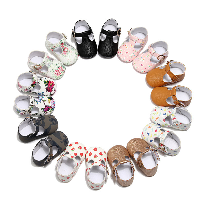 Mary Jane Soft Sole T-strap Baby Girls Shoes PU Leather Tstrap Baby Moccasin Infants Toddler Baby Boy Kids T-bar Shoes image
