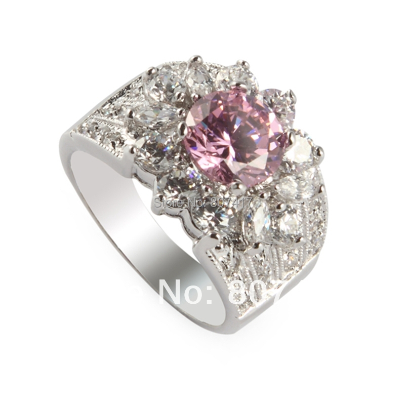 Casual Pink Kunzite Cubic Zirconia fashion Silver Plated Time limited discount Punk Bohemia ring R422 sz