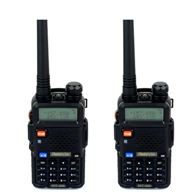 2 pcs Walkie Talkie 5W Retevis RT5R 128CH Hf Transceiver Dual Band VHF/UHF136-174/400-520MHz DTMF VOX Portable Radio Set A7105A