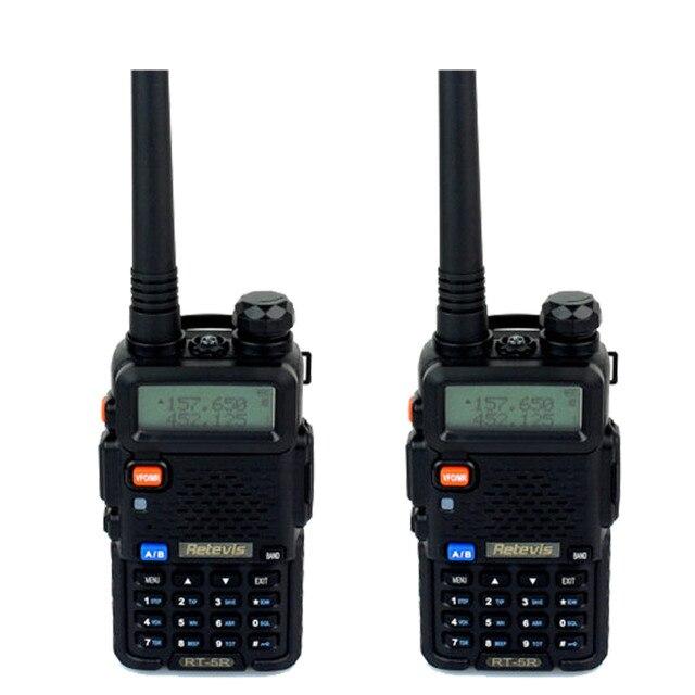 2 pcs walkie talkie 5 w 128ch retevis rt5r hf transceptor dual band vhf/uhf136-174/400-520 mhz dtmf vox rádio portátil conjunto a7105a