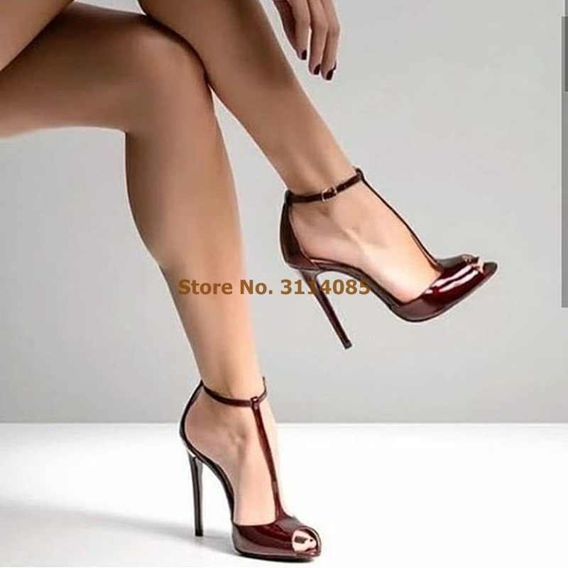 burgundy open toe shoes