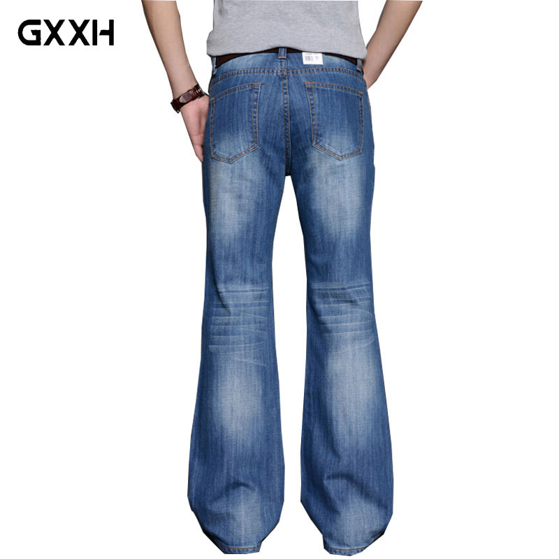 2018 Mens Big Flared Jeans Boot Cut Leg Flared Loose Fit high Waist Male Designer Classic Denim Jeans Pants Bell Bottom Jeans 2017 new designer korea men s jeans slim fit classic denim jeans pants straight trousers leg blue big size 30 34