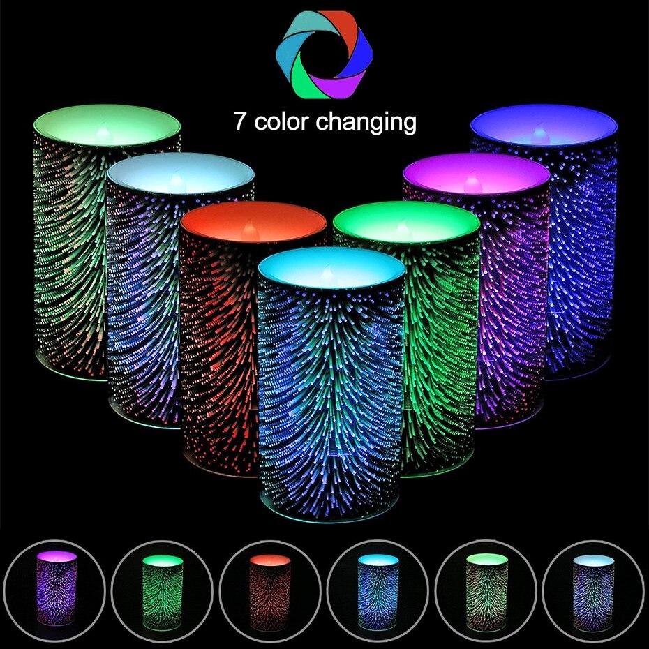 1 Pc 7 colores cambiantes fuegos artificiales LED vela con temporizador perfumada velas vela de cumpleaños, decoración de la boda sin llama velas