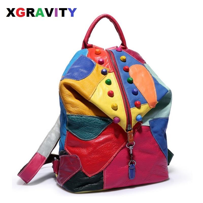 Xgravity nouvelles femmes sacs de voyage mélanger couleur Rivets dame sacs à dos arc-en-ciel coloré sacs à main vache en cuir véritable sac à dos fille H198