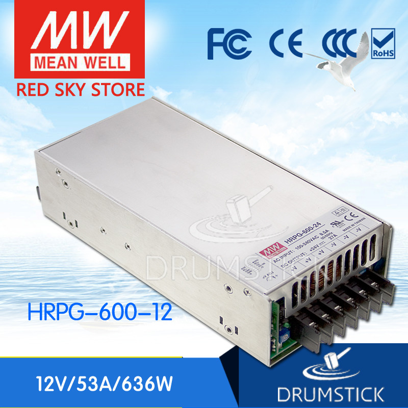 MEAN WELL HRPG-600-12 12V 53A meanwell HRPG-600 12V 636W Single Output with PFC Function  Power Supply [Real1] 1mean well original psp 600 12 12v 50a meanwell psp 600 12v 600w with pfc and parallel function power supply