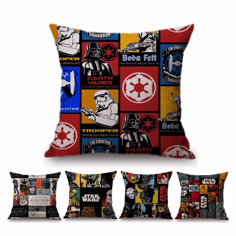 2018 nueva moderno Pop Art Star Wars caso hogar decorativo almohada BB8 Princesa Leia Yoda Darth vader algodón Lino sofá cojín