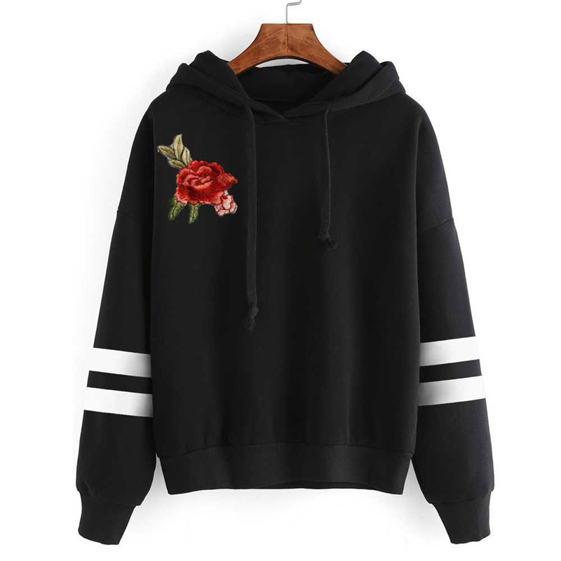 2017 Fsdhion Autumn Winter Fleece Floral Embroidery Harajuku Print Pullover Thick Loose Women Hoodies Sweatshirts Female Casual