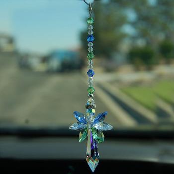 1 sztuk wiszący kryształowy anioł stróż Suncatcher okno Sun catcher twórca tęczy wystrój domu tanie i dobre opinie Maskotka FENG SHUI