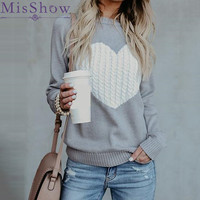 MisShow Autumn Winter Knitted Love Graphic Sweater Women Long Sleeve Heart Women Casual Pullover Loose Jumper Pull Femme