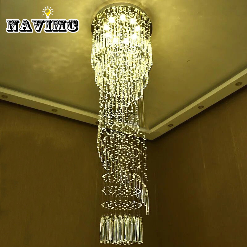 Modern Large Crystal Chandelier Lighting for Hotel Hallway Stairwell Long Stair Light led Hanging Ceiling Lmap Living Room Lamp