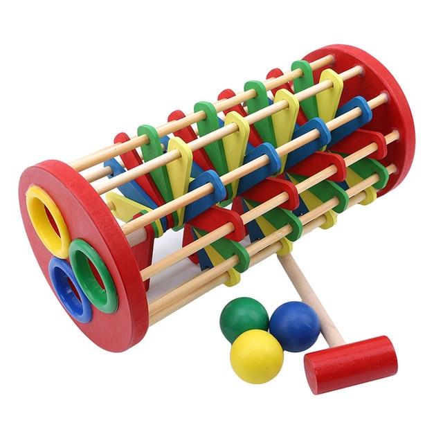 Jouets en bois échelle de bâton main frapper la balle Montessori mathématiques début éducatif coloré jouets pour enfants enfants bébé