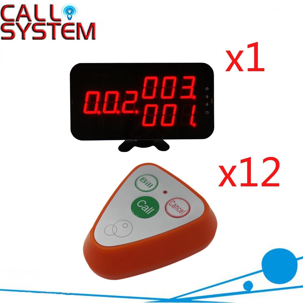 Système de sonnerie de bouton d'appel de serveur sans fil marque Ycall pour hôtel de téléavertisseur de Restaurant avec 433.92 MHZ (1 affichage + 12 bouton d'appel)