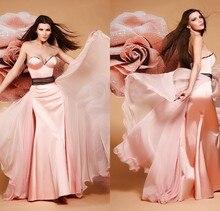 Sexy Schatz Rosa Schwarze Schärpe Chiffon Promkleider Elegante Eine linie Formale Kleider Sexy Abendkleid vestidos de gala