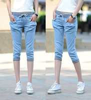 2017 Spring Korea Plus Loose Ripped Broeken Woman White Jeans With Holes Pencil Harem Denim Jean