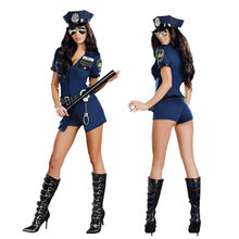 Sexy Police Women Costume Cop Outfits Adult Woman Policewoman Cosplay Adult Sex Cop Cosplay Slim Dress For Women(China)