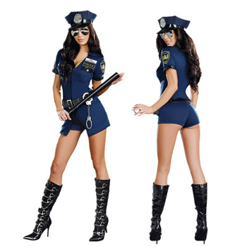 VASHEJIANG Sexy Police Costume for Adult Women Role Game Play Outfits Woman Policewoman Cosplay Uniform with Hat