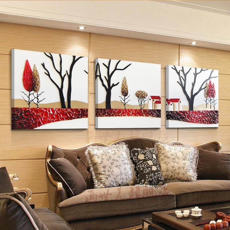 Без рамы Лидер продаж 2016 года холст картины Аннотация Happy Tree на стене Книги по искусству украшение дома номер и спальня