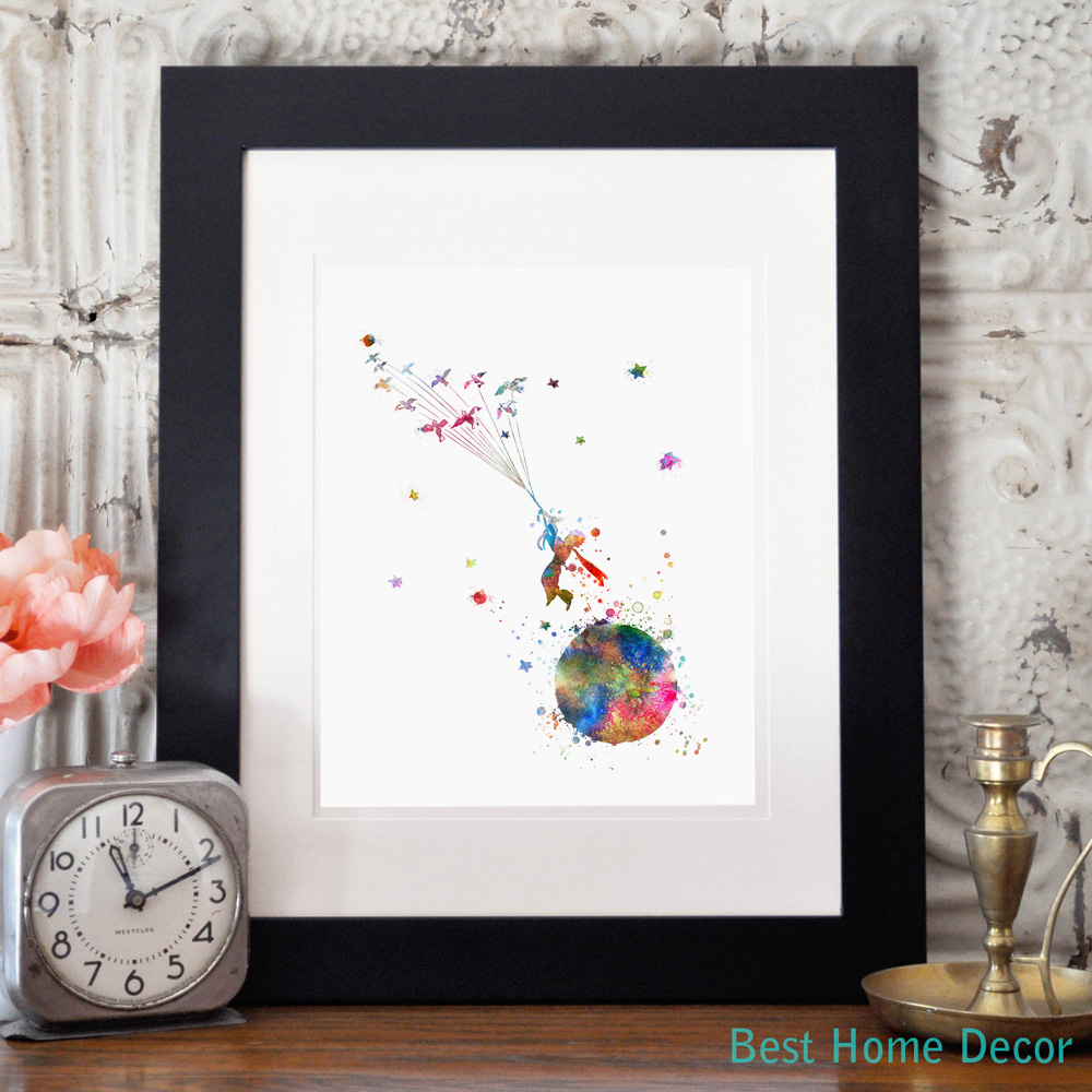 The Little Prince Colorful Inspired Quote Le Petit Watercolor Art Print Giclee Wall Decor Nursery Hanging AP076 In Painting Calligraphy