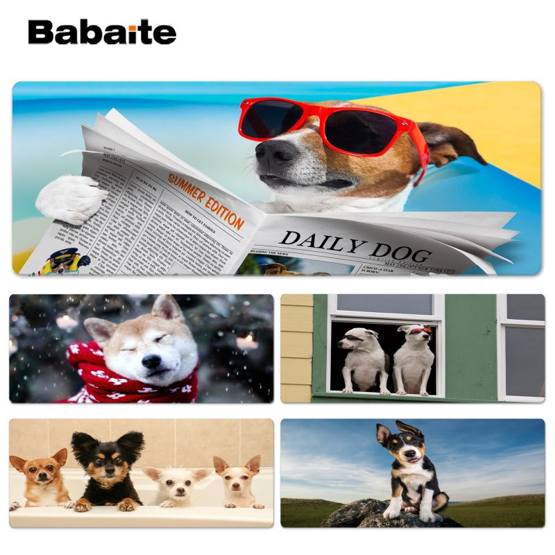 Babaite Vintage Cool Dog Laptop Gaming Lockedge Mice Mousepad Size for 30x90cm 40x90cm Speed Mouse Pad