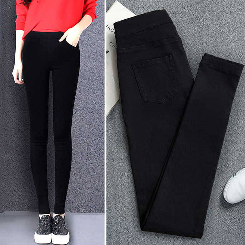 Pants Jeans Stretch Skinny Vintage High-Waist Denim Autumn New Spring Black