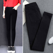 2019 New High Elastic Skinny Pencil Jeans Stretch Black Spring Vintage Waist Autumn Denim Pants