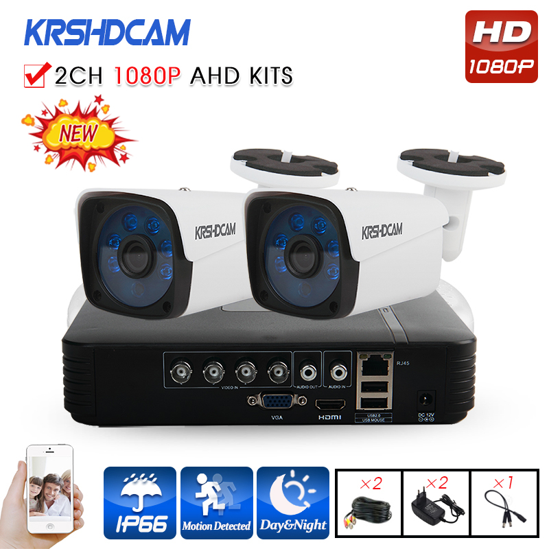 KRSHDCAM 4CH CCTV System 1080P AHD 1080N CCTV DVR 2PCS 3000TVL IR Waterproof Outdoor Security Camera Home Video Surveillance kit zosi 1080p 8ch tvi dvr with 8x 1080p hd outdoor home security video surveillance camera system 2tb hard drive white