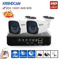KRSHDCAM 4CH CCTV System 1080P AHD 1080N CCTV DVR 2PCS 3000TVL IR Waterproof Outdoor Security Camera