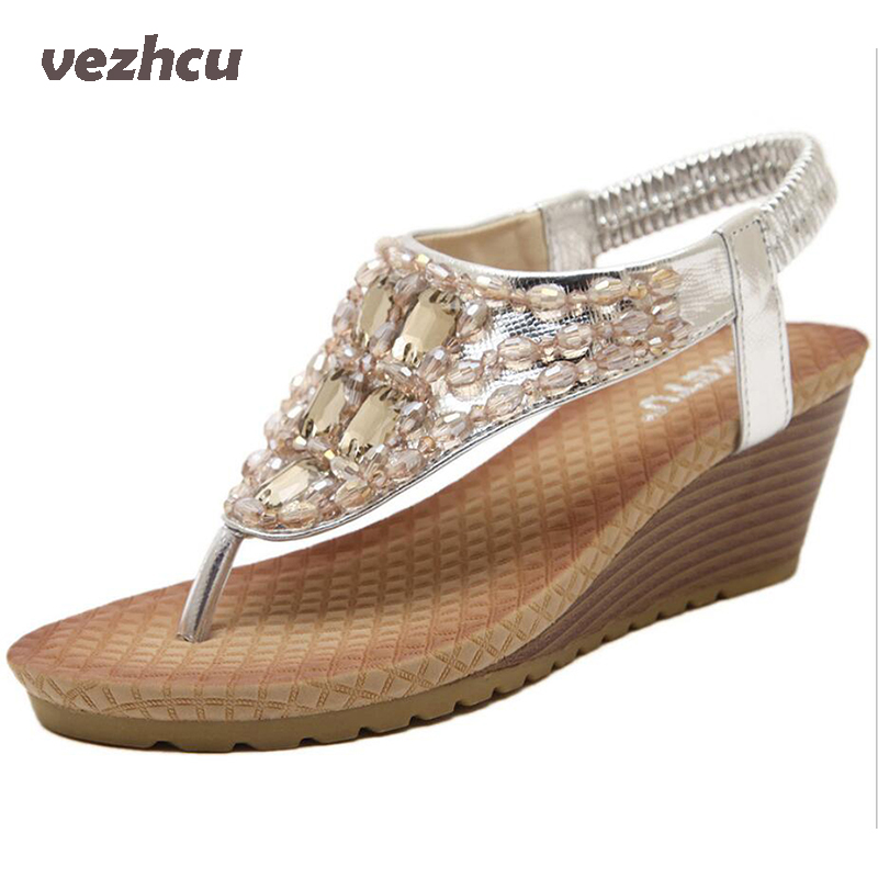 VZEHCU Summer Wedges Sandals With Rhinestone Crystal Female Fashion Sexy Bling Platform Flip Flops Casual Shoes