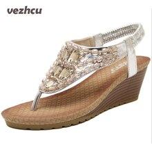 VZEHCU Cales D'été Sandales Avec Strass Cristal Femme Mode Sexy Bling Plate-Forme Flip Flops Casual Chaussures Femme p5c66