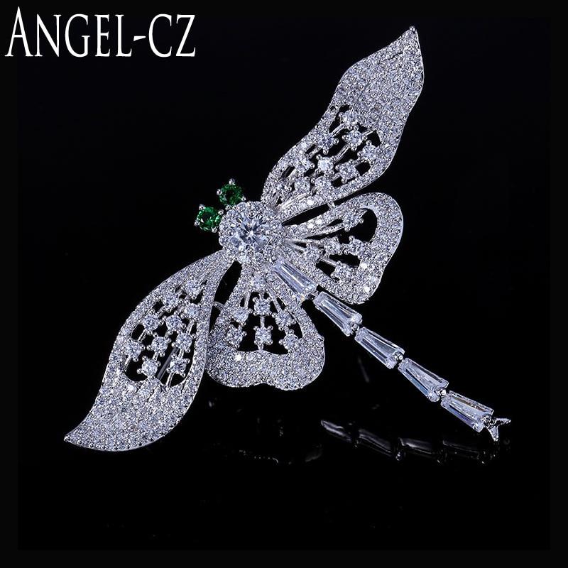 ANGELCZ Mujeres Moda Libélula Broches Joyas Para Vintage Verde Cristal Bufanda Pin Clip Broche Accesorios de Color Plata BP005