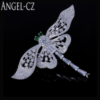 Women Fashion Green Crystal Dragonfly Brooches Jewelry For Created Emerald Scarf Pin Clip Brooch Silver Plated