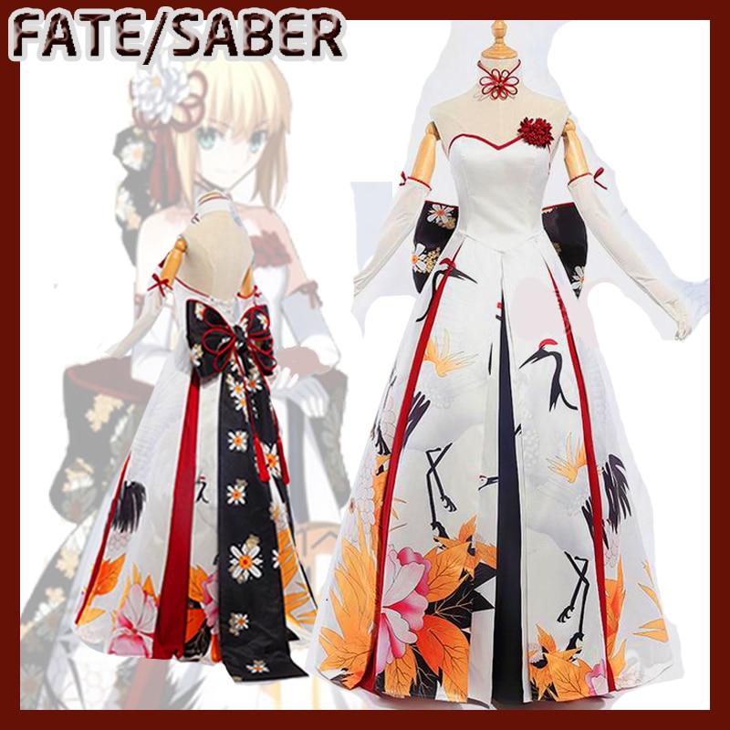 NEW!!!Anime Fate Grand Order FGO Saber Kimono Wedding ...