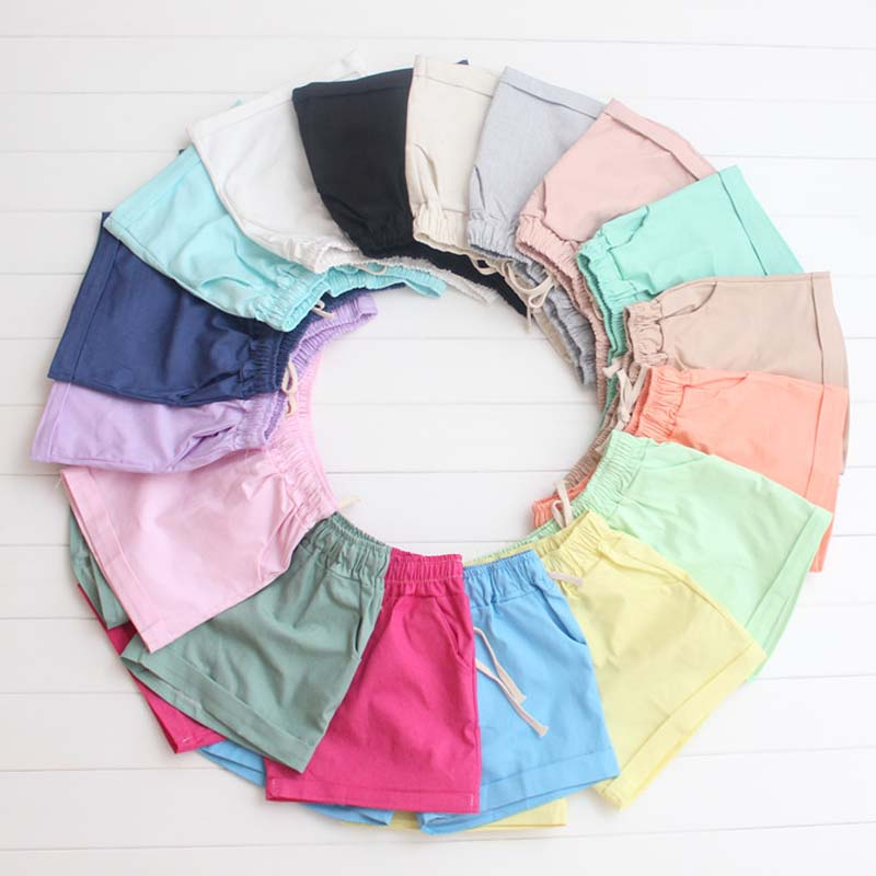 2016 Summer Style Shorts Kvinder Candy Color Elastic With Belt Short - Dametøj - Foto 5