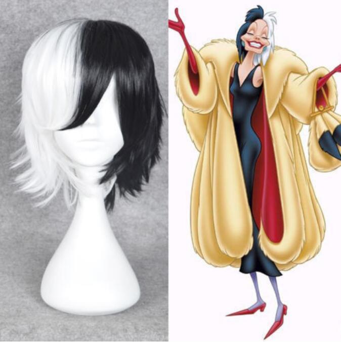 Jewelry Wig Evil Madame Wig Cruella De Ville Vil 101 Dalmations Wigs Costume Accessories Free Shipping(China)