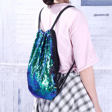 Fashion Outdoor Roses Sports Casual Double Color Sequins Unisex Chest Bag Woman Teenage Fashion Leisure Backpack Casual Daypack(China)