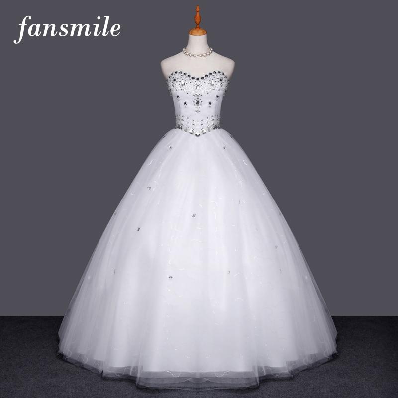 Fansmile High Quality Crystal Wedding Dress 2019 Vestido Vestidos de Novia Plus Size Wedding Ball Gowns