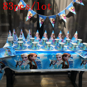 Image 1 - 83 шт Дисней Замороженные тематические кружки, тарелки, салфетки, детские украшения для дня рождения, вечеринок, мероприятий, Товары для детей 10 человек