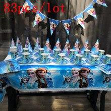 Décoration de fête danniversaire pour enfants, assiettes, gobelets sur le thème des neiges Disney, 83 pièces, fournitures et cadeaux pour 10 personnes