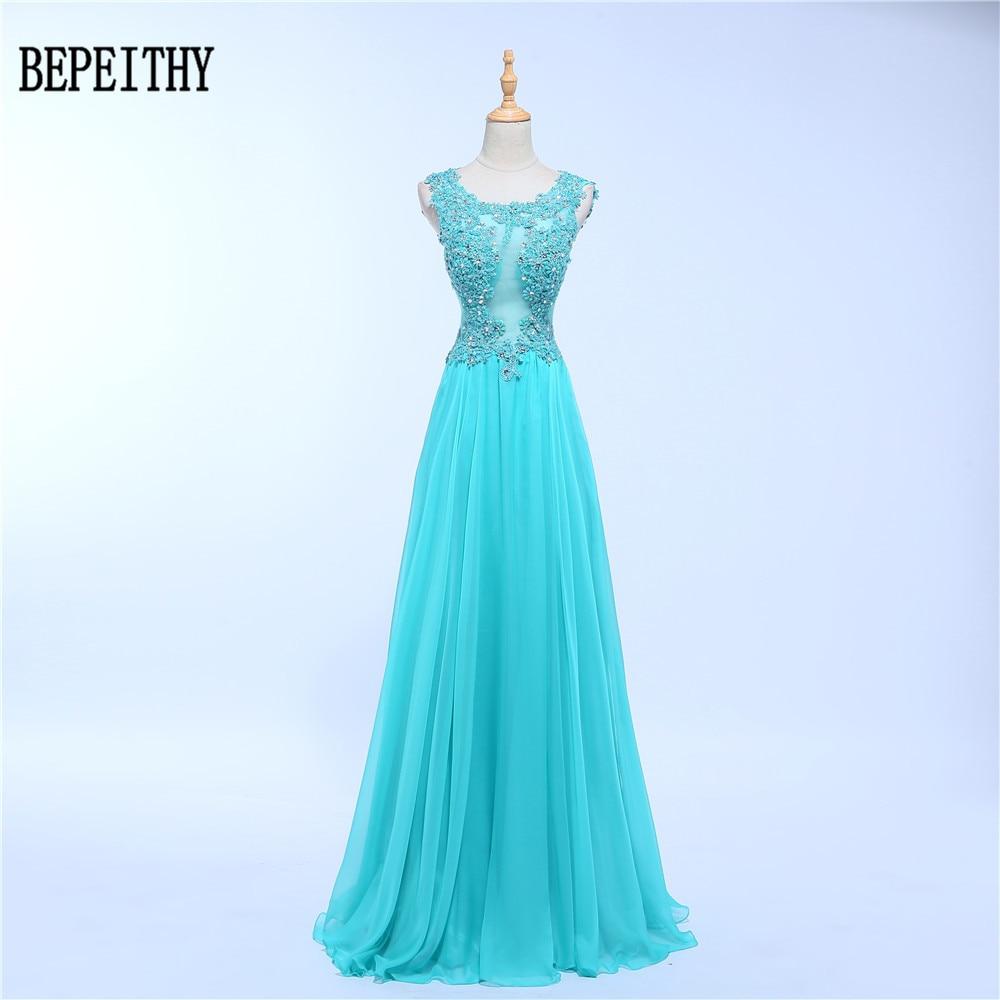 BEPEITHY Vestido De Festa 2019 Elegant Long Evening Dress Scoop Tulle Sheer Back Sequins Appliques Evening Dress Robe De Soiree