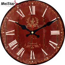 hot deal buy meistar vintage round clocks brief design silent home cafe wall decor shabby chic clocks for kitchen art  large wall clocks